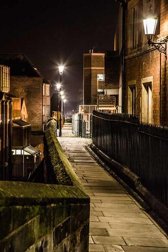 City walls at night
