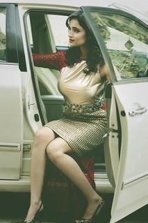 Stunning woman in golden Dress