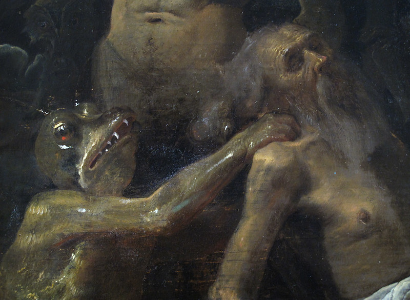 Cornelis Saftleven - Job plagued by ghosts, 1631 (detail)