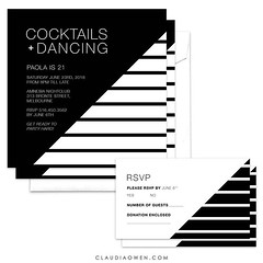 Cocktails + Dancing. Black + White. Perfect combination. You can find this card @pingginvitations and on my website #partytime #invitations