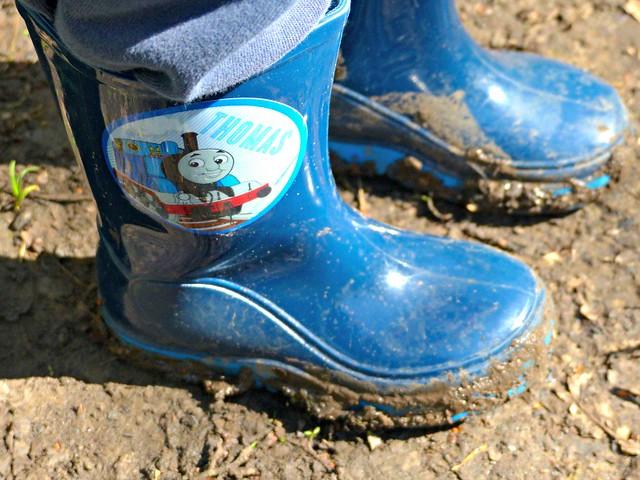 Muddy Thomas the Tank Engine wellington boots, woodland walk