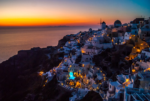 sunset sun santorini greece oia