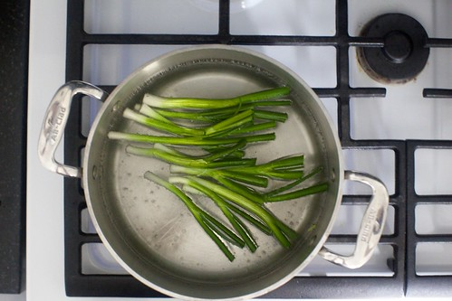 blanching scallions, optional