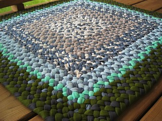 New Square Braided Rug in Blues and Olive Green