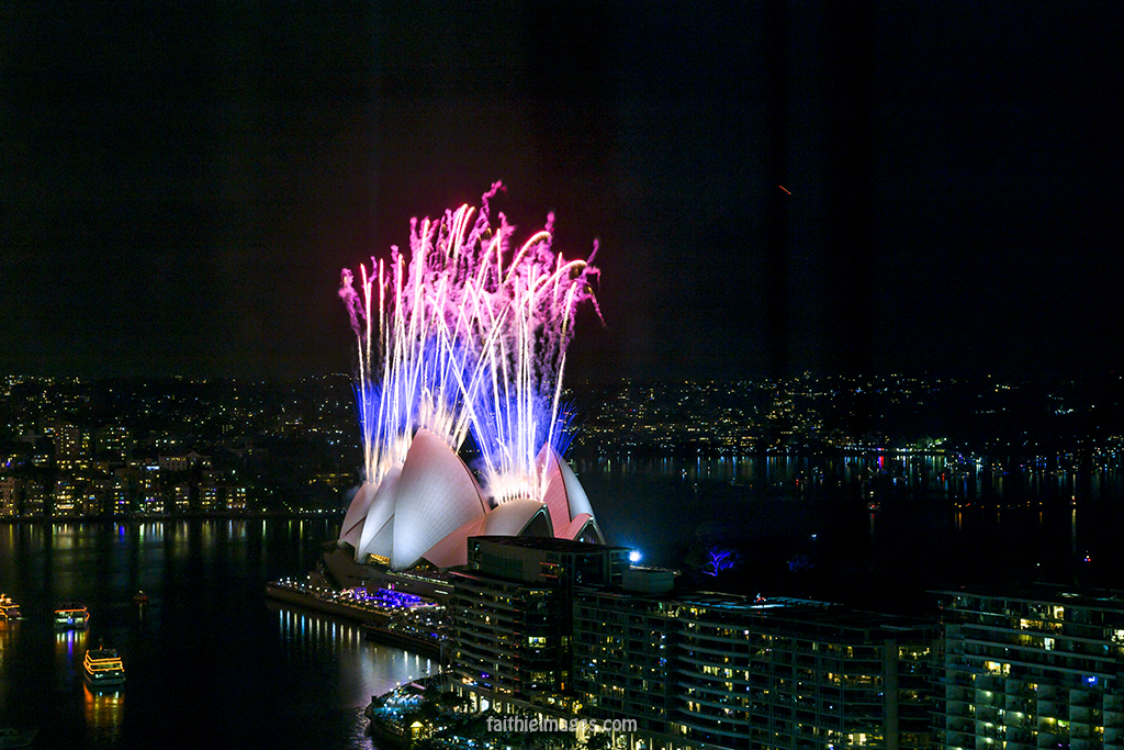 Sydney Opera House with fireworks on New Years Eve 2015
