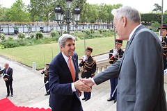U.S. Secretary of State John Kerry shakes hands with French Foreign Minister Jean-Marc Ayrault upon arrival at the French Ministry of Foreign Affairs in Paris, France on July 30, 2016. [State Department Photo/Public Domain]