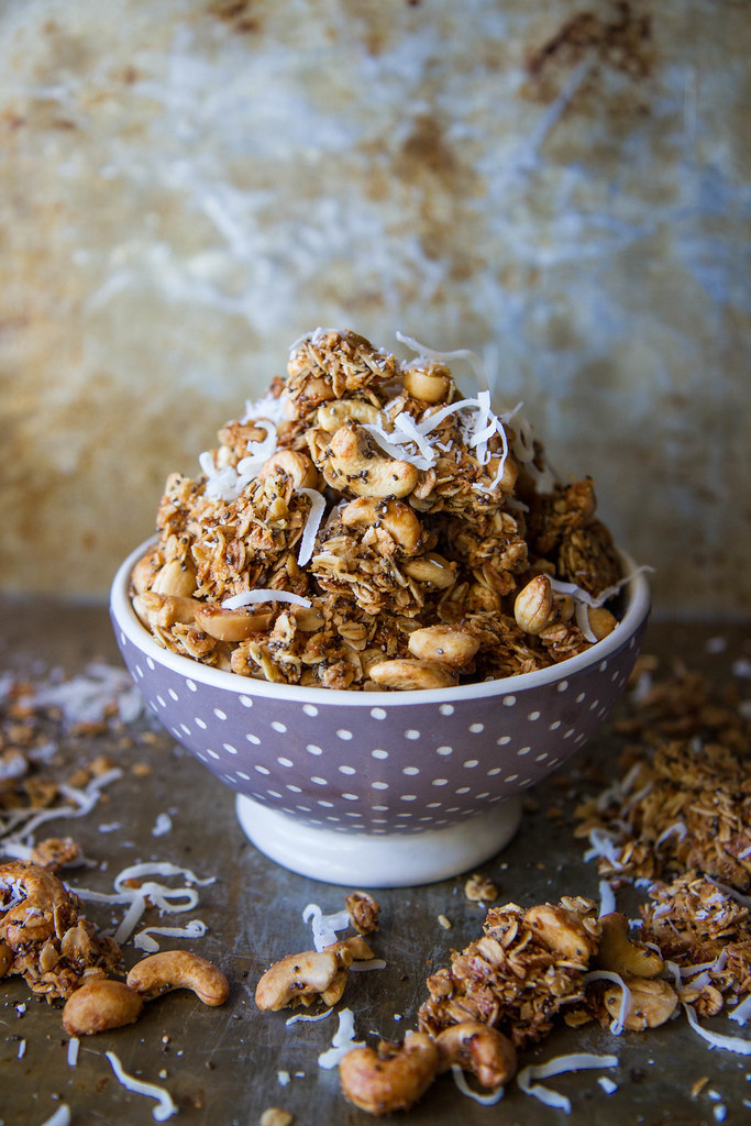 Tropical Granola with coconut, cashews and macadamia nuts