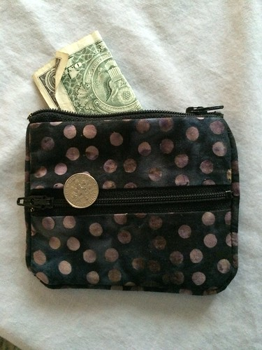 Dark dotted dollar and dime holder
