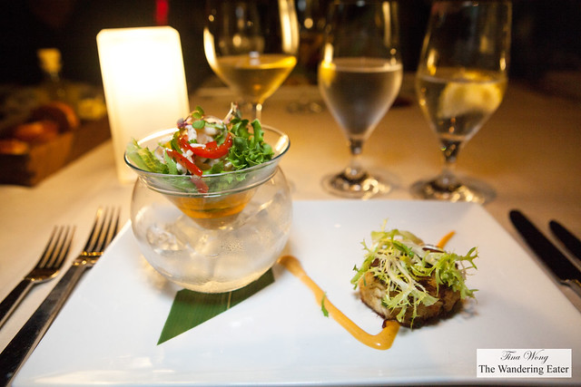 Duo of appetizers of Marlon's crab cake, spicy aioli & Anguillan conch ceviche