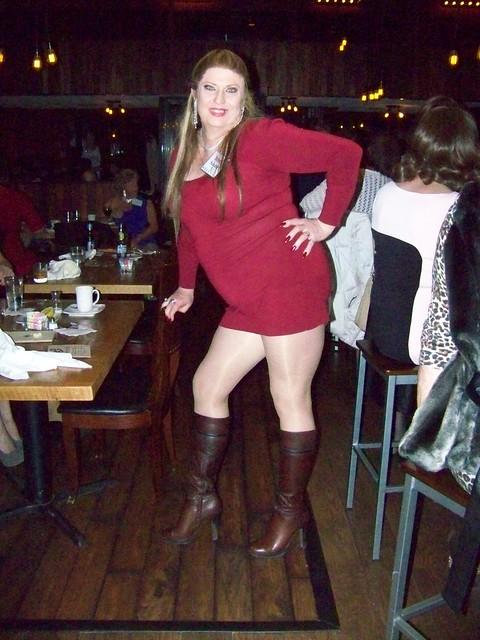 Platform Jessica Simpson Boots Long Legs Red Dress = FUN.