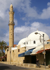 View of the Mahmoudia Mosque from a Jaffa street, Jaffa (Yafo), Tel Aviv-Yafo, Israel