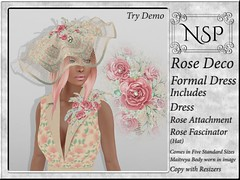 NSP Rose Deco Formal Dress with Hat - Soft Pink