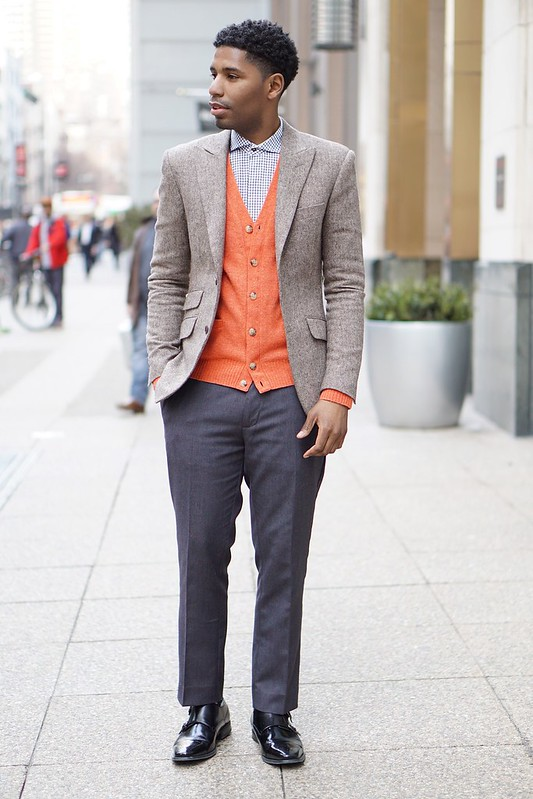 orange cardigan tweed blazer