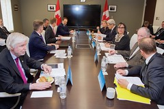U.S. Secretary of State John Kerry sits with his counterparts from Canada, Denmark, Finland, Iceland, Norway, Russia, Sweden, and the Arctic Region in Iqaluit, Canada, on April 24, 2015, before a meeting just below the Arctic Circle of the Arctic Council, whose chairmanship the United States will assume the next two years. [State Department Photo/Public Domain]