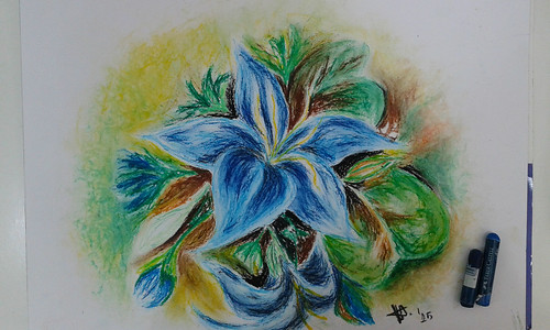 Flower Sketch with oil pastel