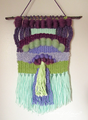 purple green weaving