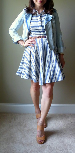 mixed stripe shirtdress