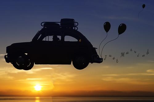 sky sun car sunrise married jus honey baloons