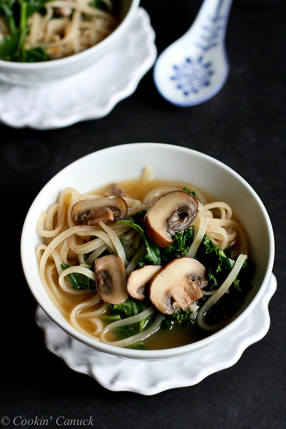 30-Minute Rice Noodle Soup with Mushrooms and Kale Recipe {Vegetarian}...Healthy and easy for busy nights! 236 calories and 7 Weight Watchers SmartPoints