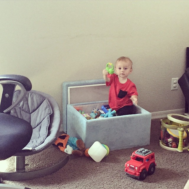Crazy little boy is IN his toy box this morning. by bartlewife