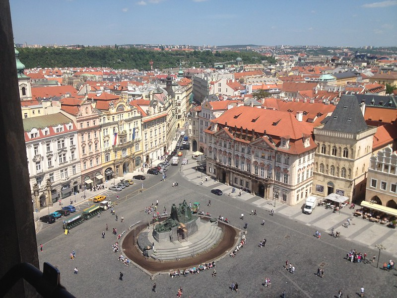 View of Prague from the top of the Astronomical clock tower
