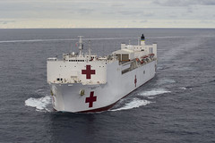 In this file photo, USNS Mercy (T-AH 19) transits the Pacific Ocean in late May. (U.S. Navy/MCC Christopher E. Tucker)
