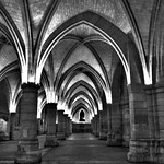 black and white arched magnificence of the Hall of Soldiers (Salle des Gens d'armes), the Conciergerie, Paris, France
