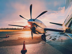 Sunset with a Saab 2000 #travel