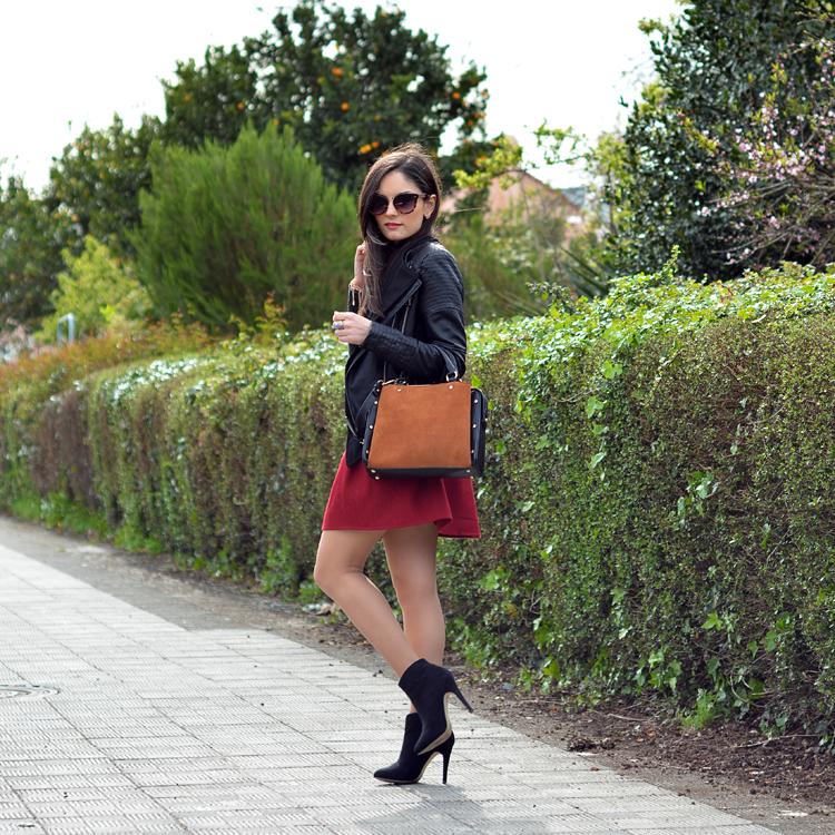 zara_ootd_outfit_falda roja_botines_sheinside_plaid_02
