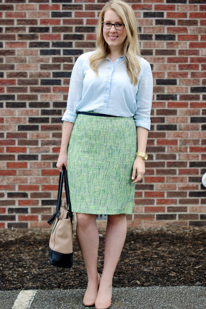 tweed skirt with button up blouse