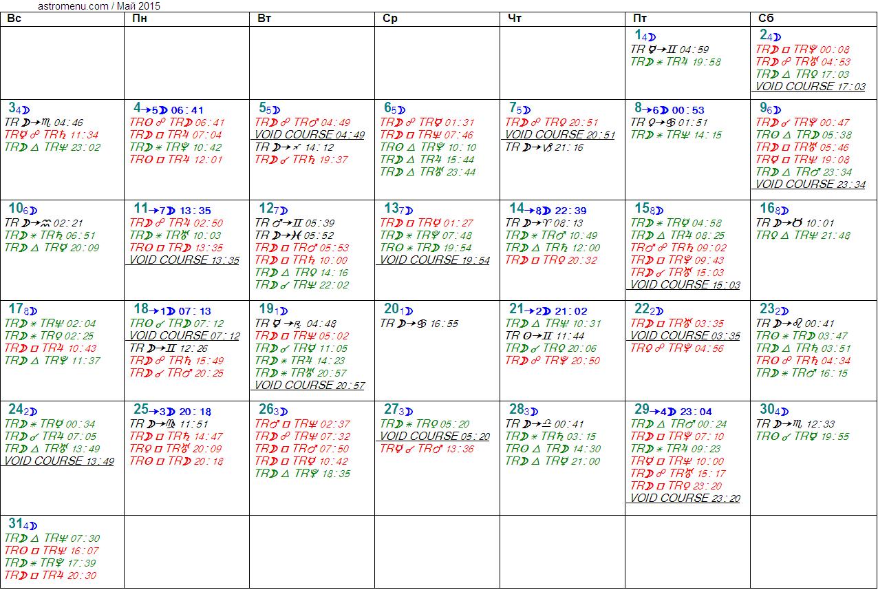 Астрологический календарь на МАЙ 2015. Аспекты планет, ингрессии в знаки, фазы Луны и Луна без курса