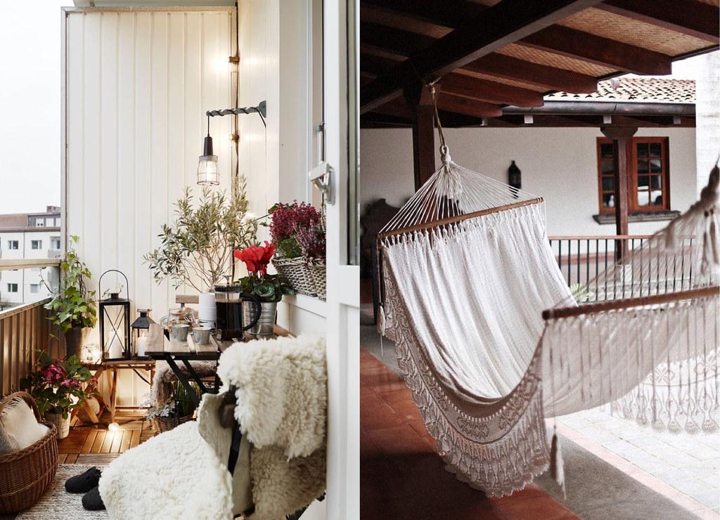 cozy balcony, boho hammock