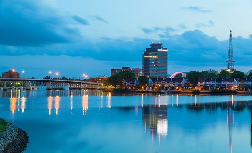 sky reflection water skyline clouds virginia hampton downtownhampton hamptonriver