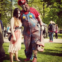 #Zombiewalk in Helsinki. OMG, they got Mario!