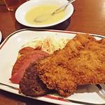 Dinner: 輕食的店 紅寶石,A套餐. 沖繩大眾食堂.