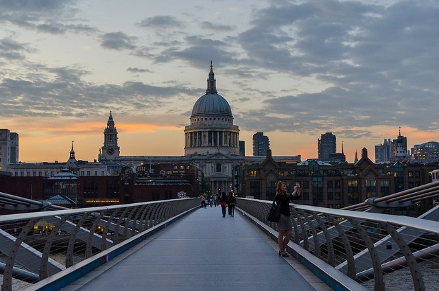 View of St. Paul Cathedral from Millennium Bridge at sunset