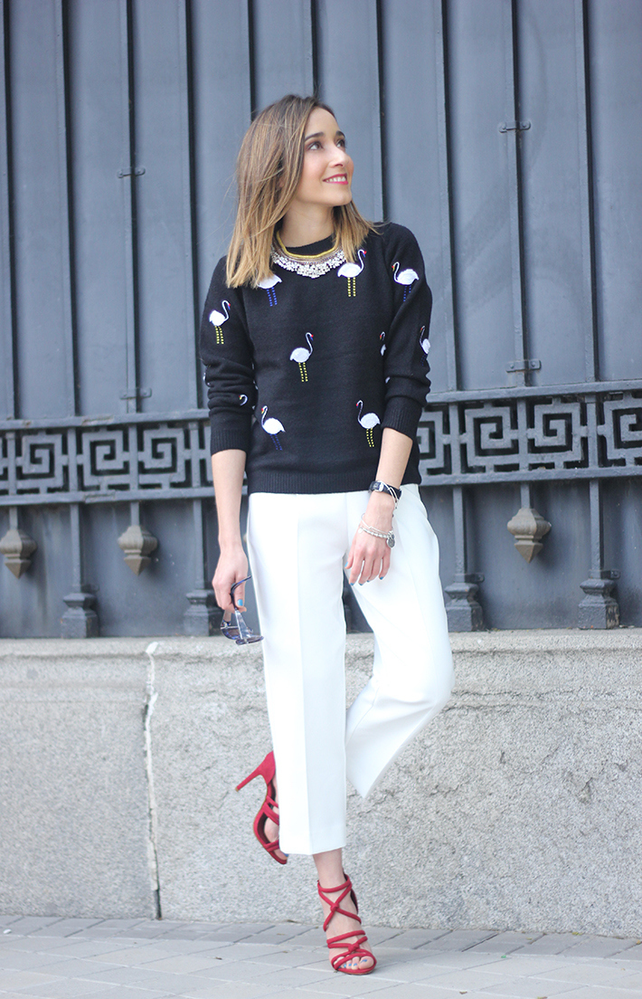flamingo sweater sheinside white trousers zara sandals zara14