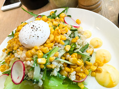 Corn and quinoa salad with a poached egg at Lucky…