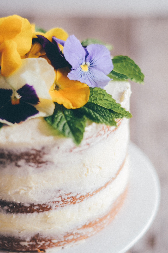 Triple Lemon Cake with Edible Flowers
