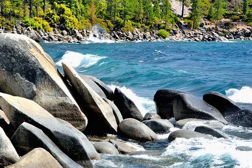 trees beach water forest rocks waves nevada laketahoe alpine sierranevada sandharbor waterpictorial joelach