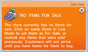 """No Items For Sale"" notification"