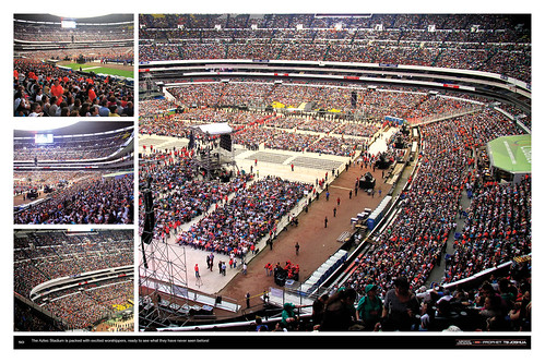 The Aztec Stadium is packed with excited worshippers, ready to see what they have never seen before!