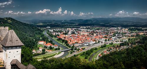 celje slowenien si slovenia cityscape landscape oldtown castle building architecture outdoor sun clouds