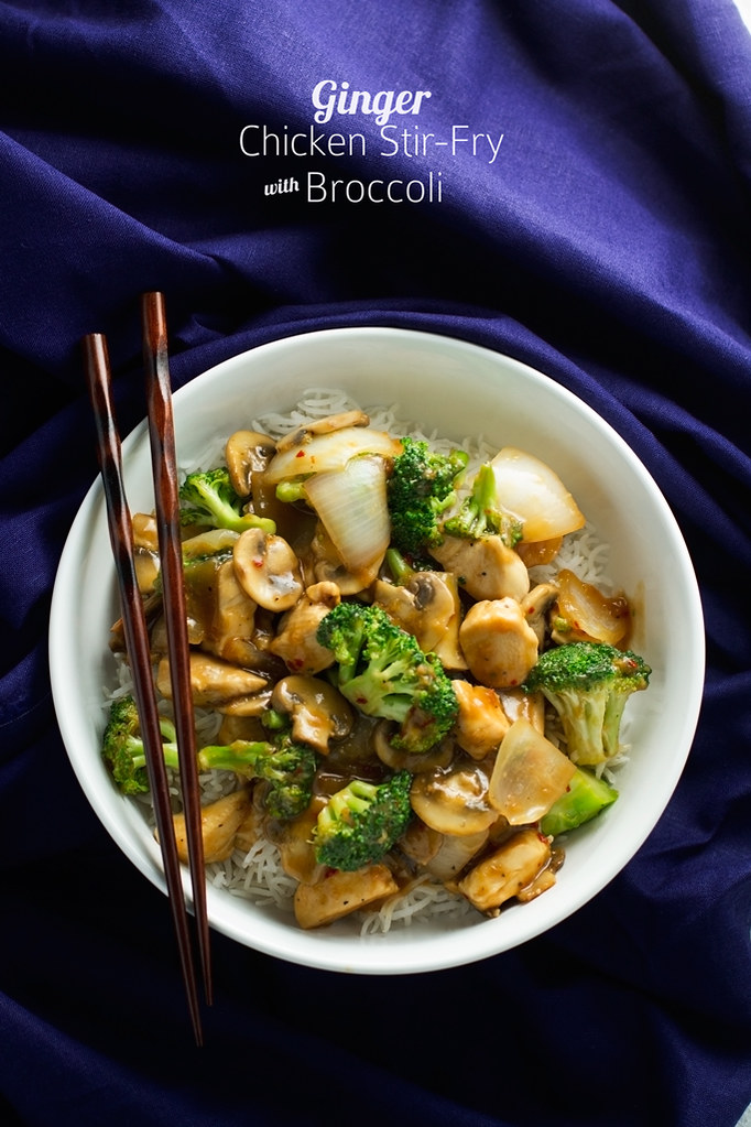 Ginger Chicken Stir-Fry with Broccoli - a quick 30 minute recipe that's loaded with flavor! You've gotta try it! #stirfry #chicken #gingerchicken | Littlespicejar.com