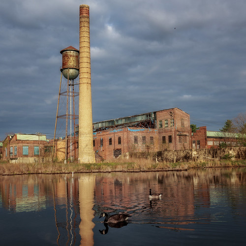 reflection mill abandoned square landscape dawn us geese newjersey factory unitedstates watertower nj smokestack milltown