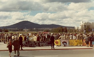Atom Free Embassy, parliament House lawns, June 1981