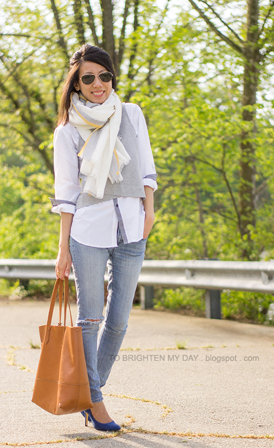 linen scarf, cropped gray vest, white dress shirt, distressed jeans, blue suede pumps