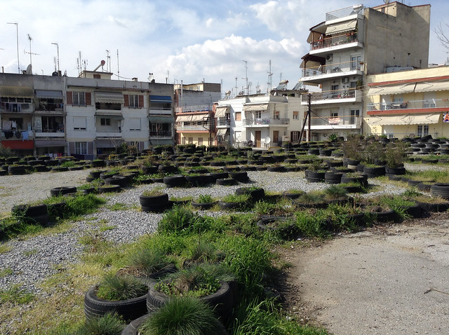 Public Park on city-owned lot, built by Thessaloniki Aillos in Thessaloniki Greece