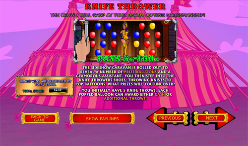 free Captain Cannon's Circus of Cash Knife Thrower feature