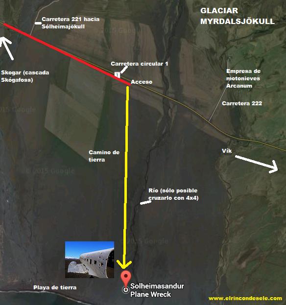 Mapa de situación del avión abandonado de Islandia (Aquí es dónde está)